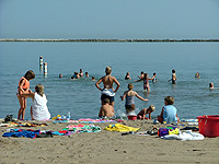 People on the beach at Fairport Harbor Lakefront Park
